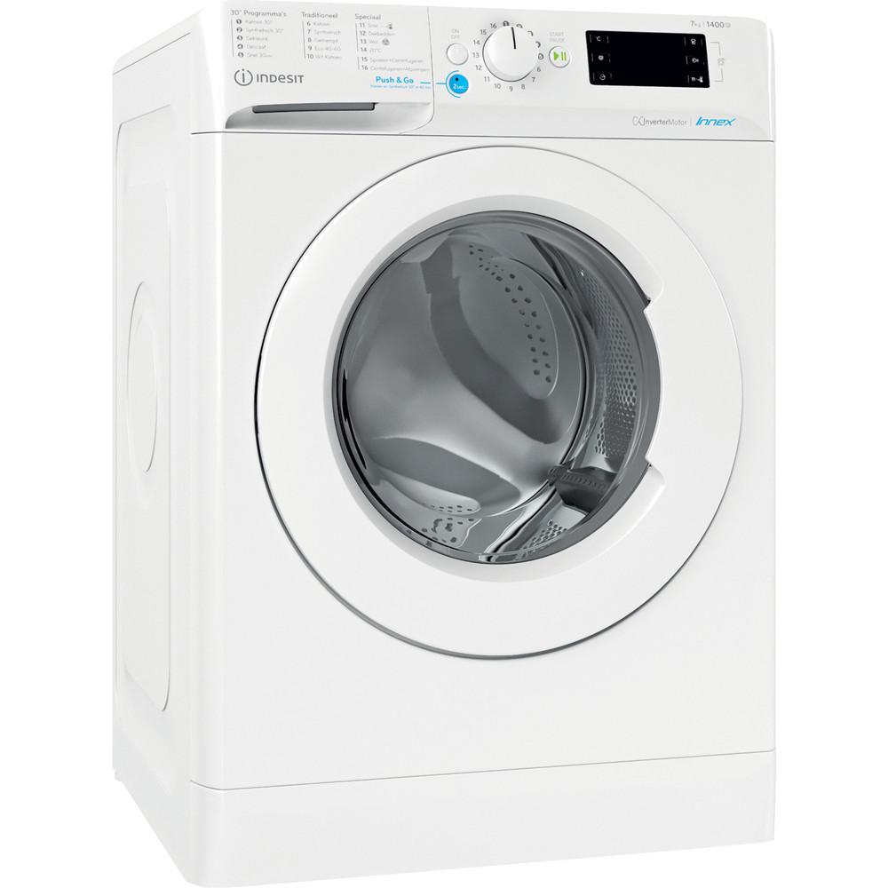 Indesit Wasmachine Vrijstaand BWENL 71483X W N Wit Voorlader D Perspective