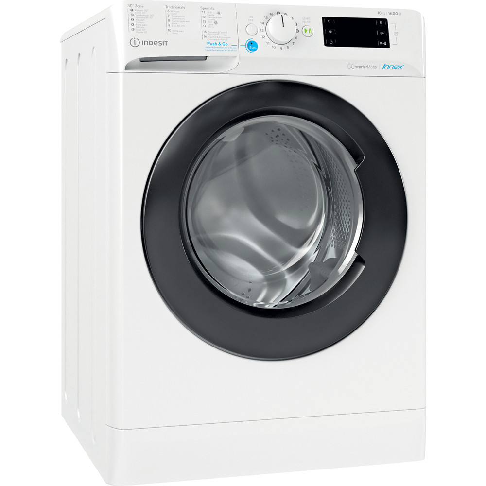 Indesit Lave-linge Pose-libre BWEBE 101683X WK N Blanc Frontal D Perspective