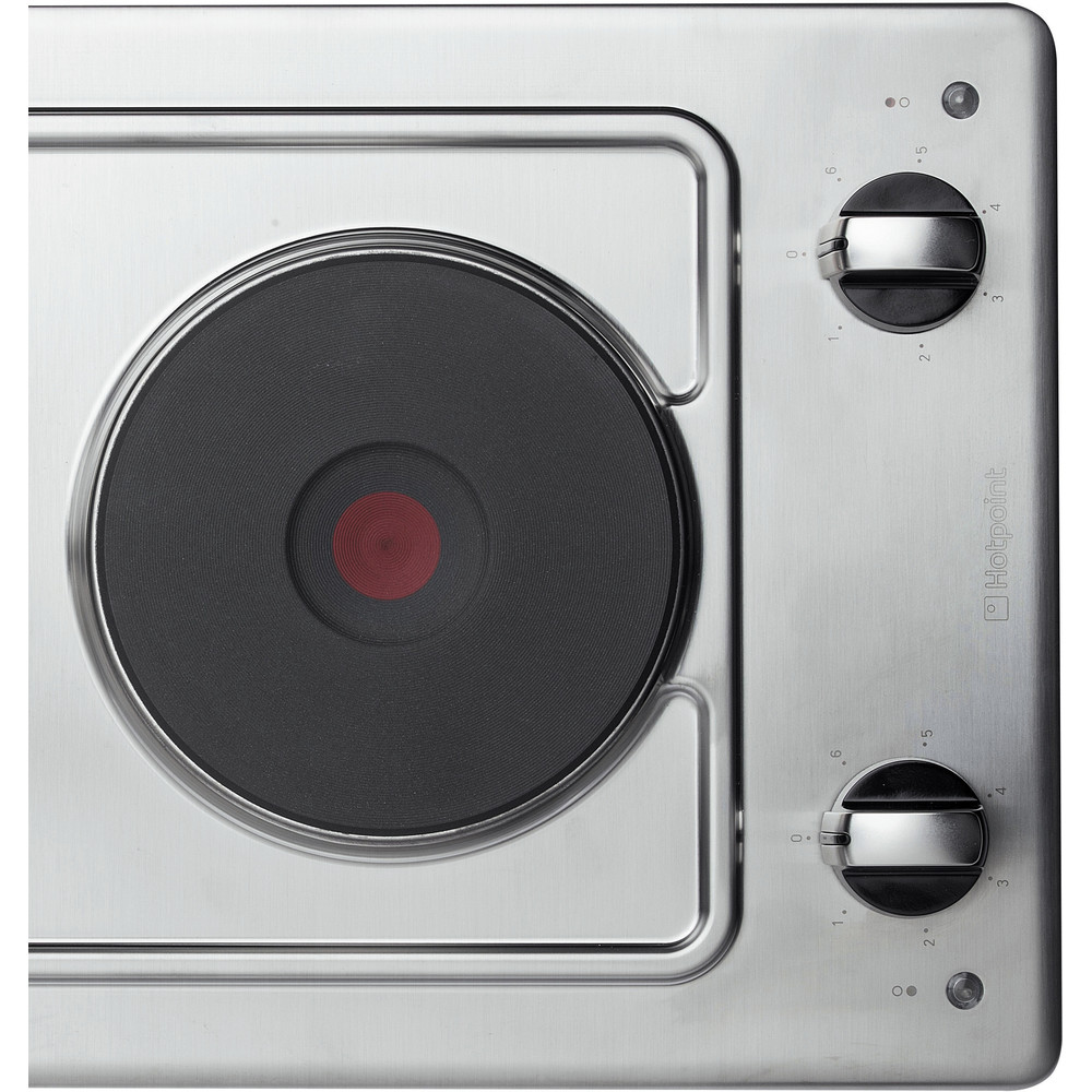 Hotpoint HOB E320SKIX Inox Solid Plate Frontal