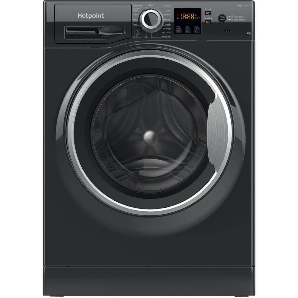 Hotpoint Washing machine Free-standing NSWR 843C BS UK N Black Front loader D Frontal