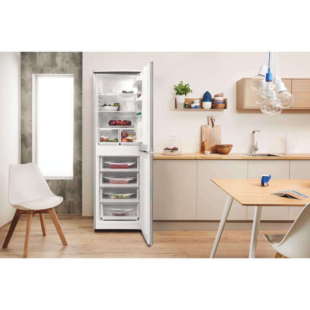 Indesit Combiné réfrigérateur congélateur Pose-libre CAA 55 NX 1 Inox 2 portes Lifestyle frontal open