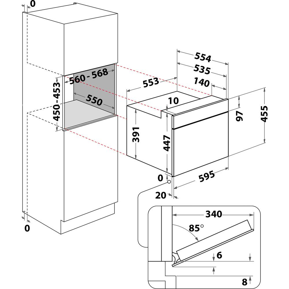 Indesit Magnetron Ingebouwd MWI 3400 IX Rvs Elektronisch 40 MW-Combi 900 Technical drawing