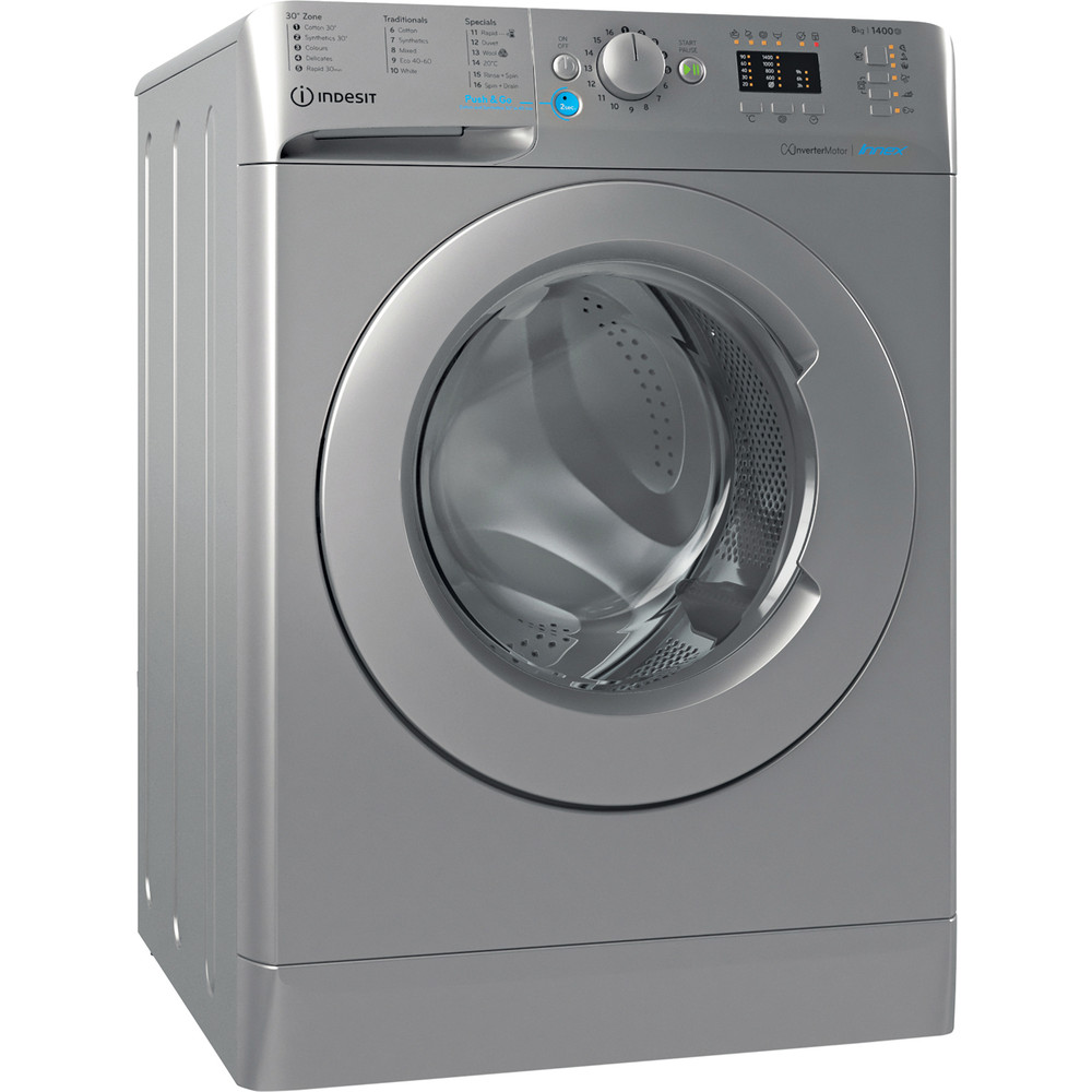 Indesit Washing machine Free-standing BWA 81483X S UK N Silver Front loader D Perspective