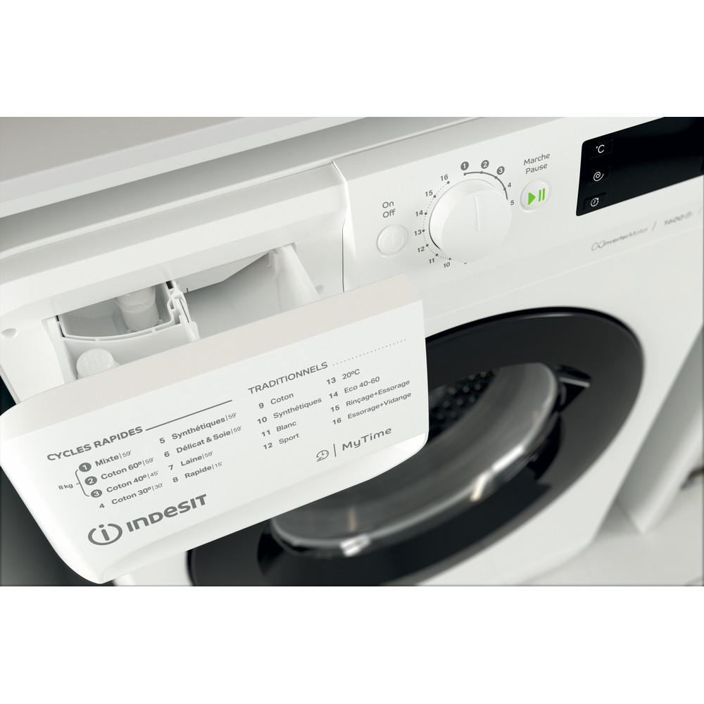 Indesit Lave-linge Pose-libre MTWE 81683 WK FR Blanc Lave-linge frontal A+++ Drawer