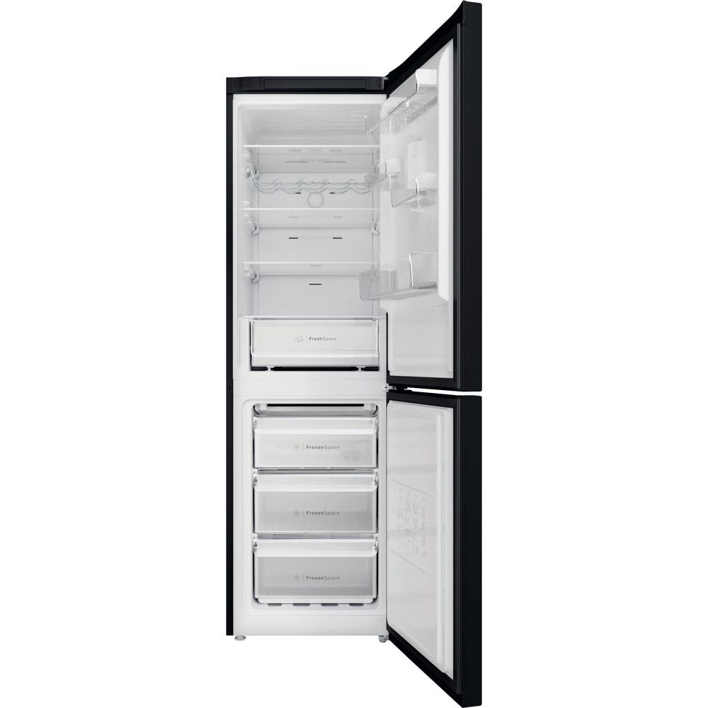 Indesit Réfrigérateur combiné Pose-libre INFC8 TO22K Noir 2 portes Frontal open