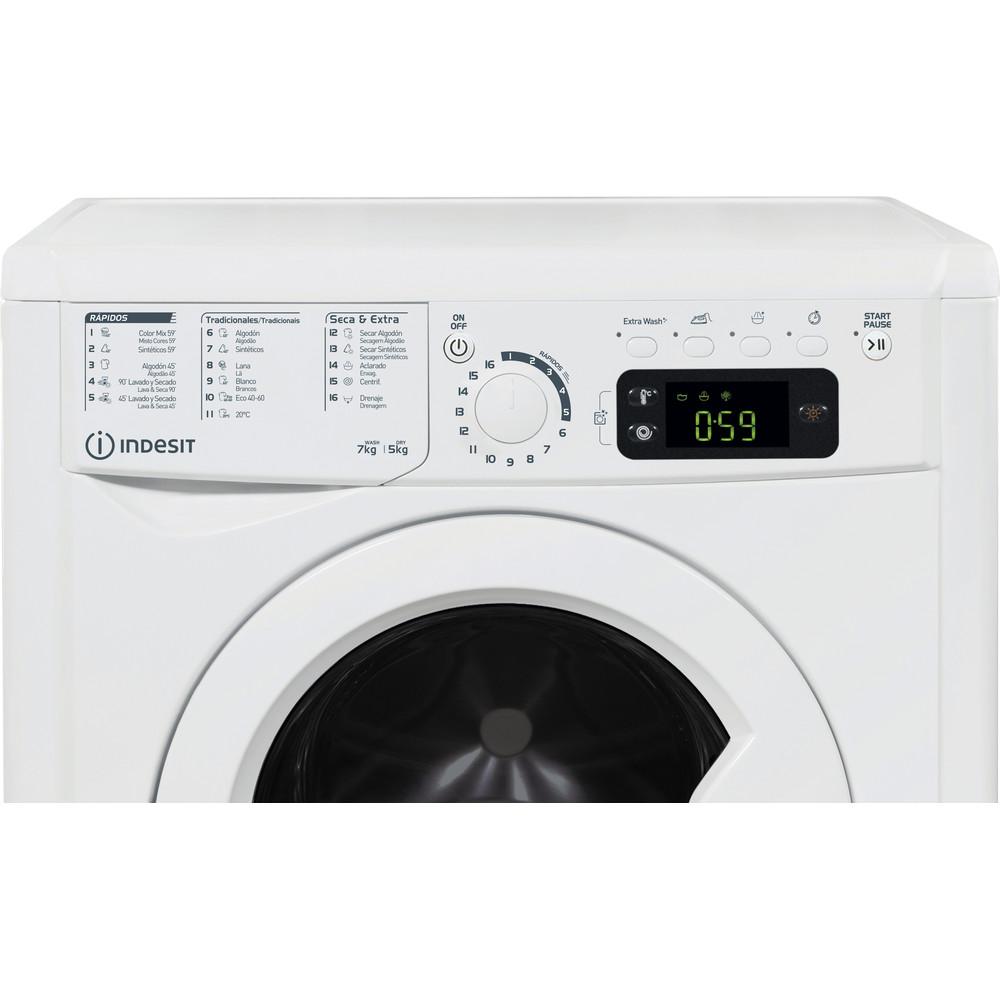 Indesit Lavadora secadora Libre instalación EWDE 751251 W SPT N Blanco Cargador frontal Control panel