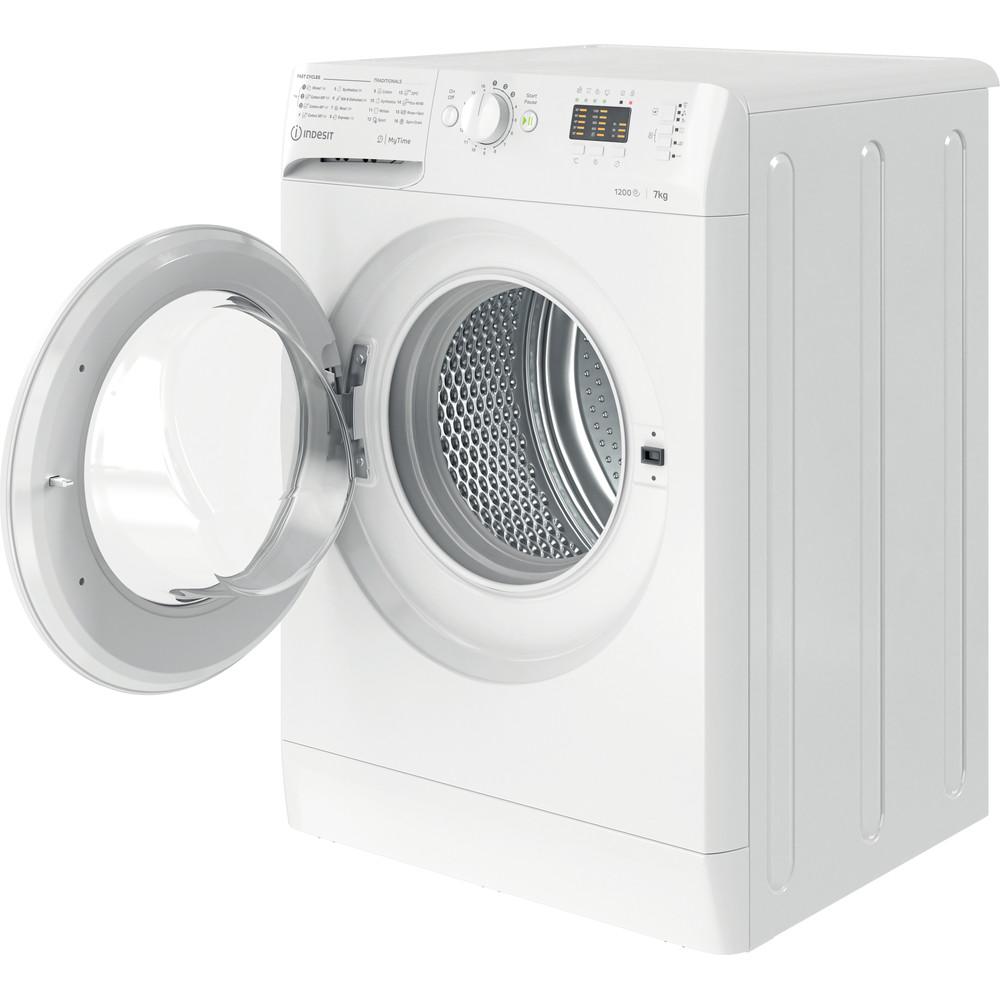 Indsit Maşină de spălat rufe Independent MTWA 71252 W EE Alb Încărcare frontală E Perspective open