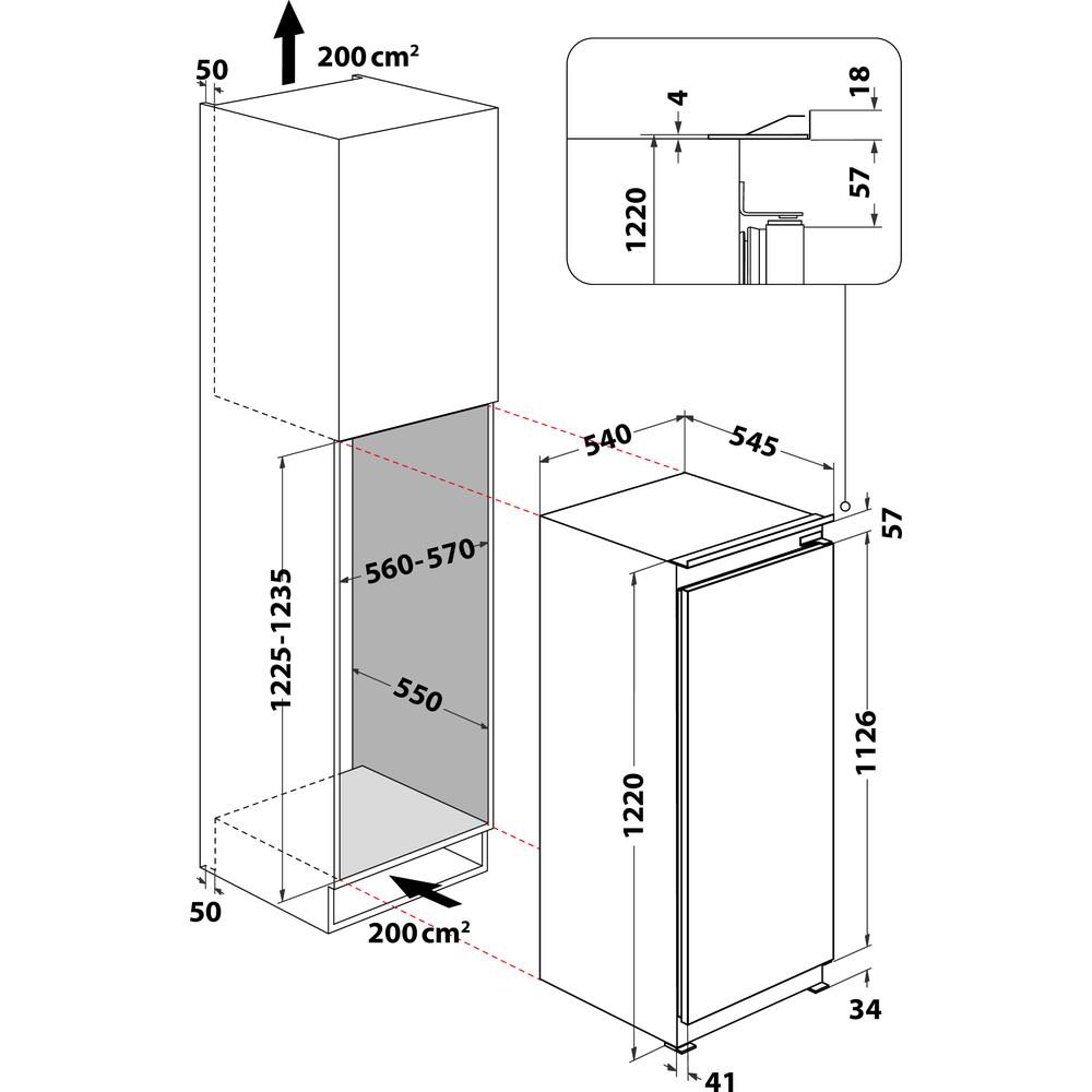 Indesit Koelkast Ingebouwd S 12 A1 D/I 1 Rvs Technical drawing