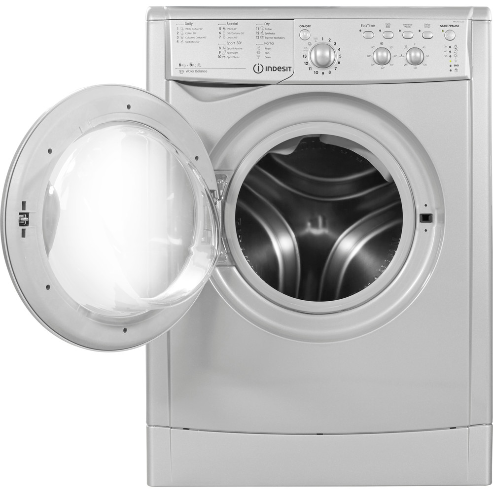 Indesit Washer dryer Free-standing IWDC 6125 S (UK) Silver Front loader Frontal_Open