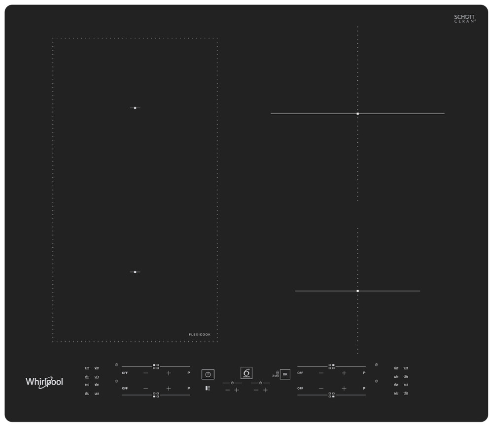 Whirlpool Plīts virsma WL B8160 NE Melna Induction vitroceramic Frontal