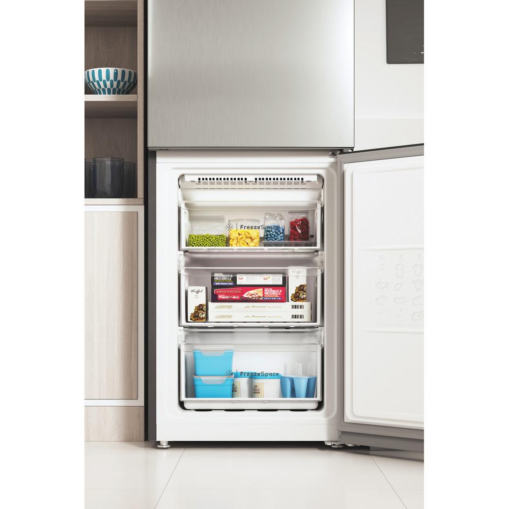Indesit Combiné réfrigérateur congélateur Pose-libre INFC9 TI21X Inox 2 portes Lifestyle frontal open