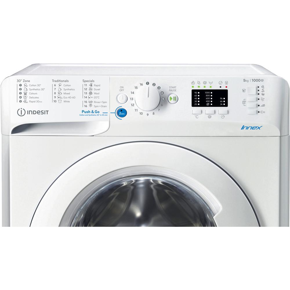 Indesit Pračka Volně stojící BWSA 51051 W EE N Bílá Front loader A++ Control panel