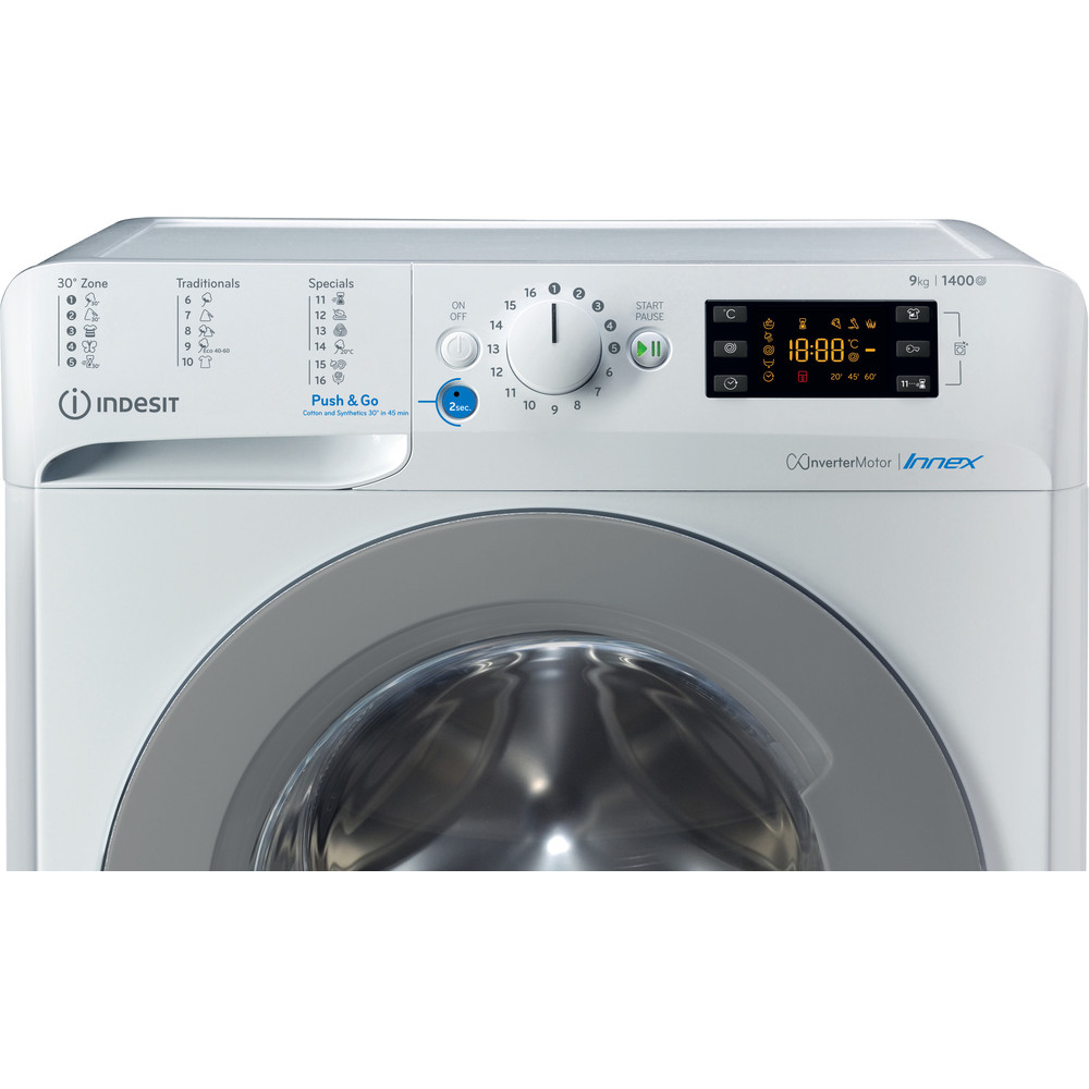 Indesit Tvättmaskin Fristående BWE 91484X WS EU N White Front loader C Control panel