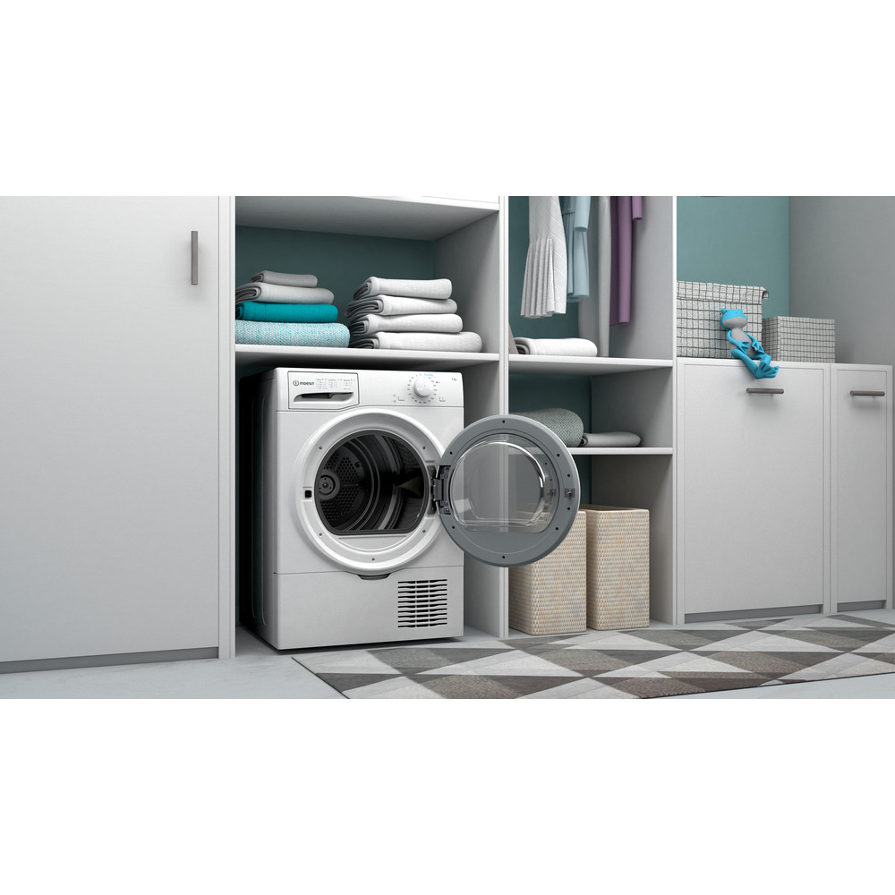 Indesit Dryer I2 D71W UK White Lifestyle perspective open