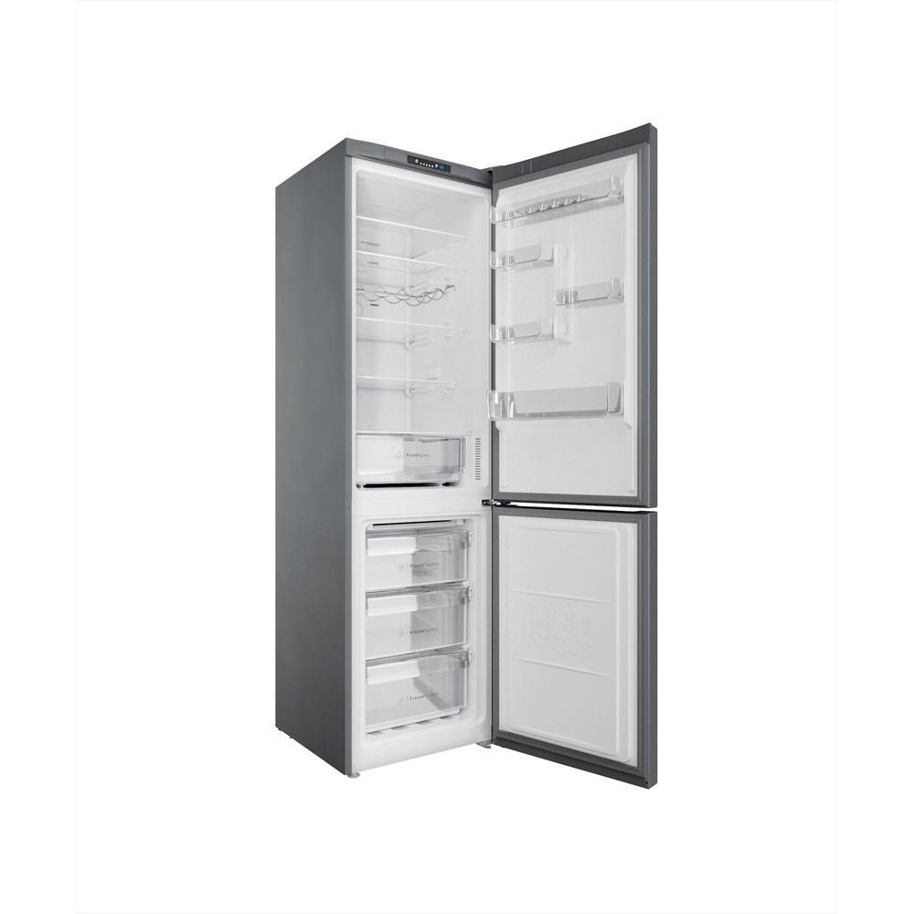 Indesit Combiné réfrigérateur congélateur Pose-libre INFC9 TI21X Inox 2 portes Perspective open