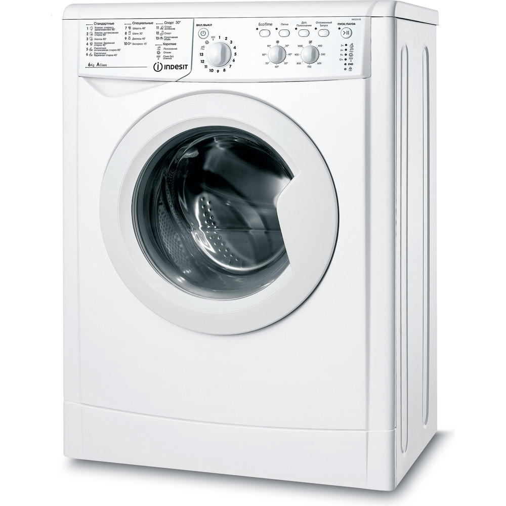Indesit Стиральная машина Отдельностоящий IWSC 6105 (CIS) Белый Фронтальная загрузка A Perspective