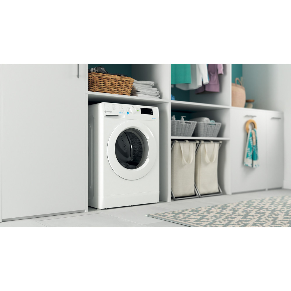 Indesit Washing machine Free-standing BWE 91683X W UK N White Front loader D Lifestyle perspective