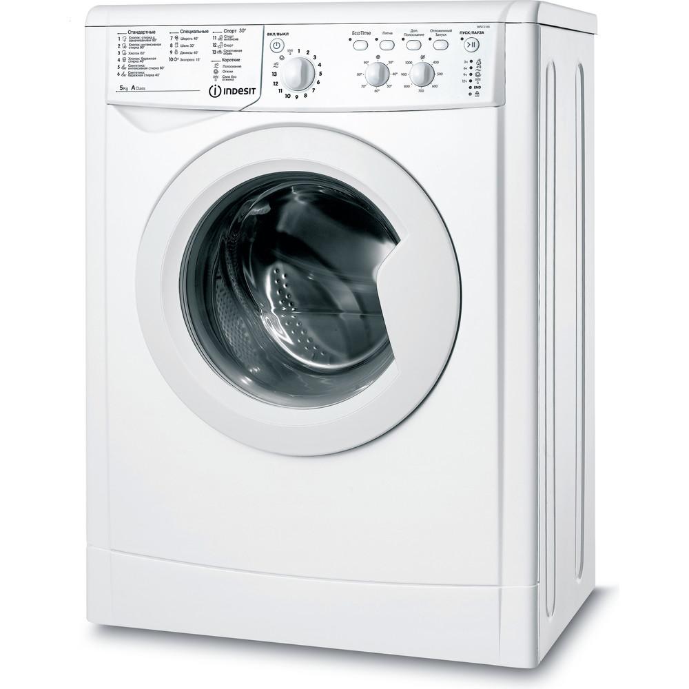 Indesit Стиральная машина Отдельностоящий IWSC 5105 (CIS) Белый Фронтальная загрузка A Perspective