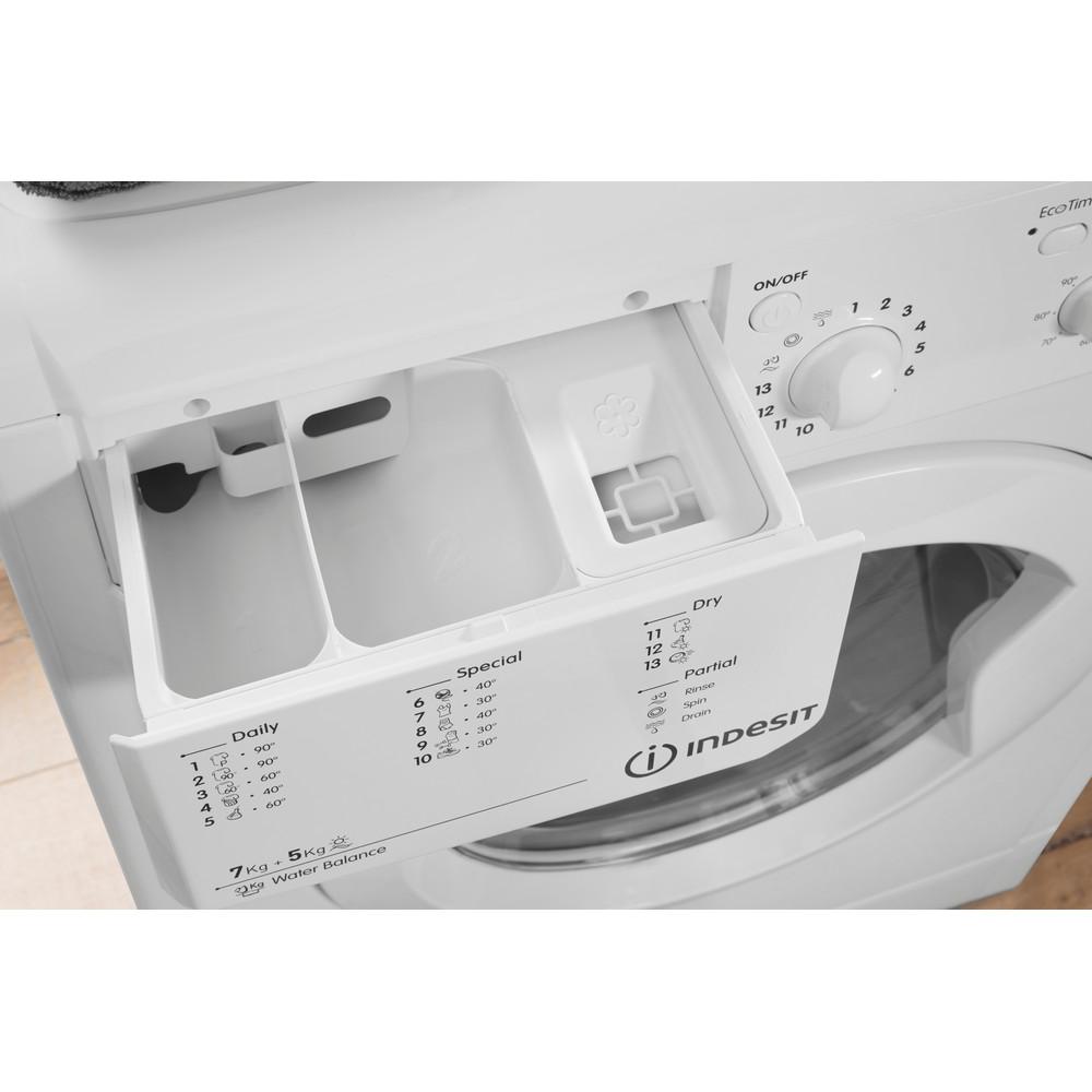 Indesit Lavasciugabiancheria A libera installazione IWDE 7125 B (EU) Bianco Carica frontale Drawer