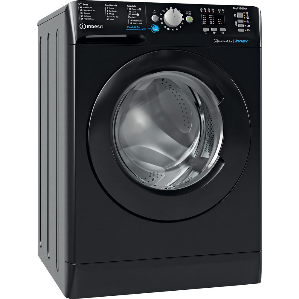 Indesit Washing machine Free-standing BWA 81683X K UK N Black Front loader D Perspective