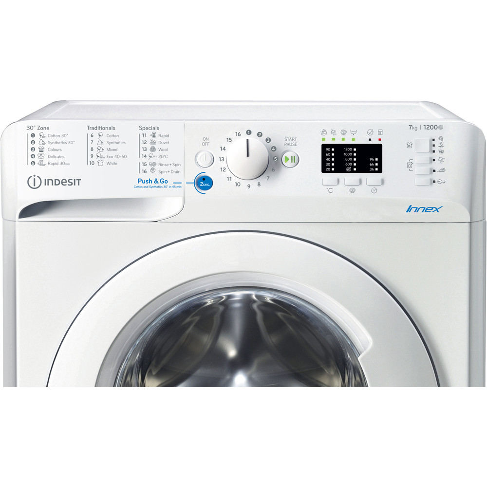 Indesit Pračka Volně stojící BWSA 71251 W EE N Bílá Front loader A+++ Control panel