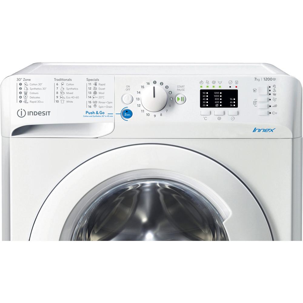 """""""Indesit"""" Skalbimo mašina Laisvai pastatoma BWSA 71251 W EE N Balta Pakraunama iš priekio E Control panel"""