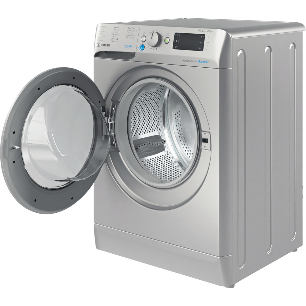Indesit Washer dryer Free-standing BDE 861483X S UK N Silver Front loader Perspective open
