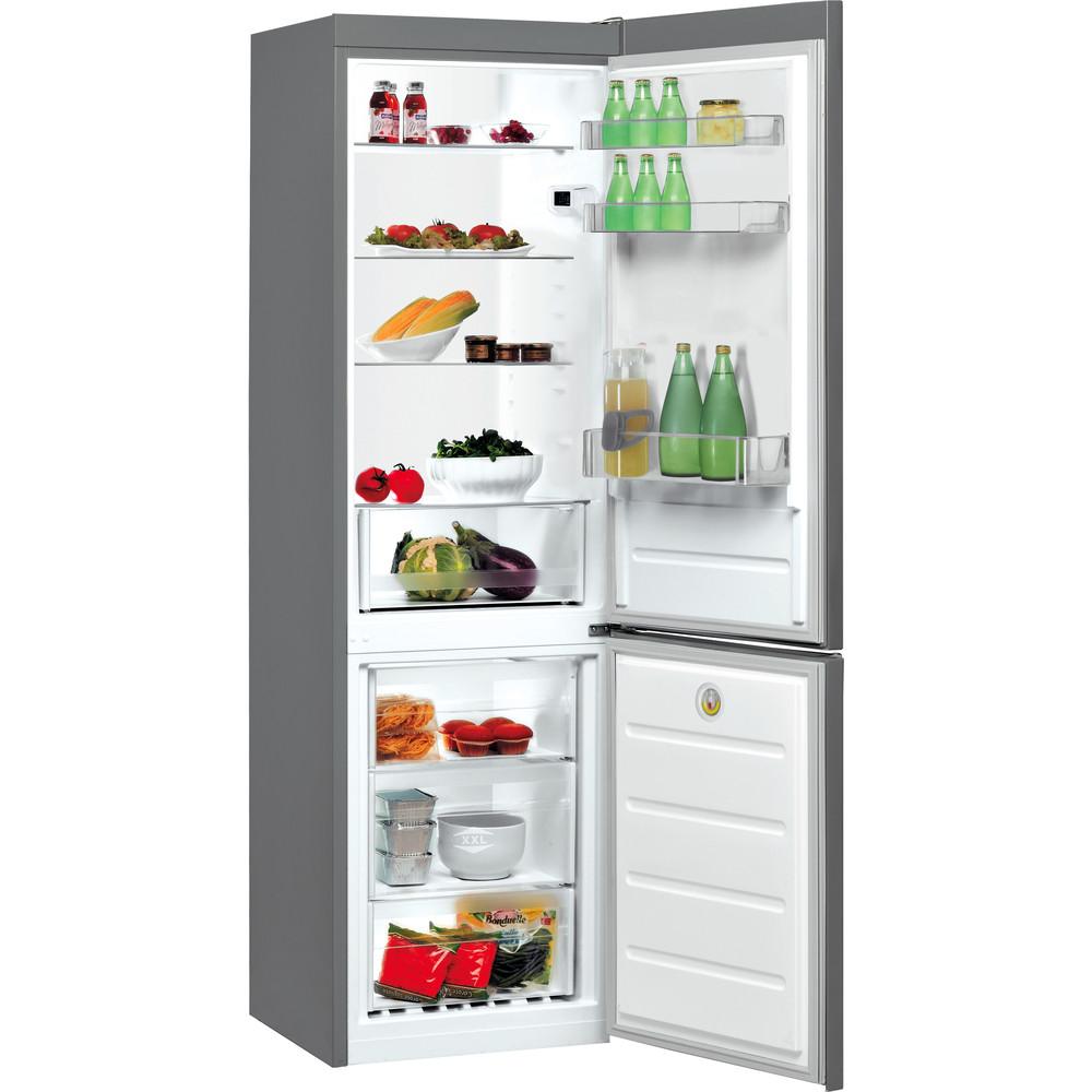 Indesit Réfrigérateur combiné Pose-libre LI8 S2E S Argent 2 portes Perspective open
