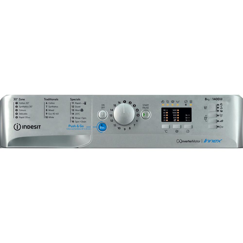 Indesit Washing machine Free-standing BWA 81483X S UK N Silver Front loader D Control panel