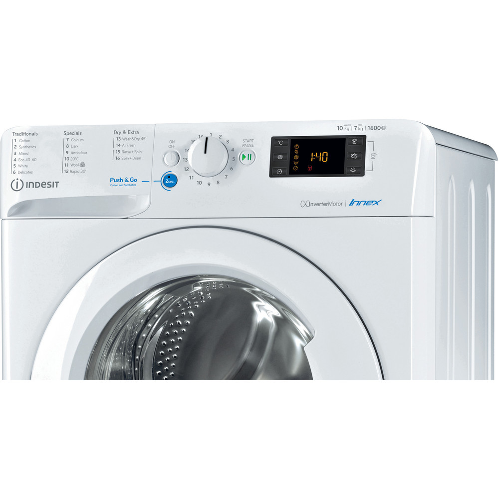 Indesit Washer dryer Free-standing BDE 1071682X W UK N White Front loader Control panel