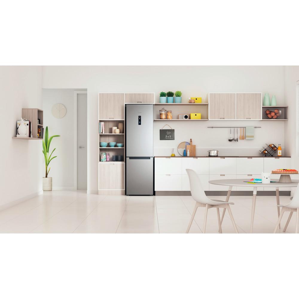 Indesit Combiné réfrigérateur congélateur Pose-libre INFC9 TO32X Inox 2 portes Lifestyle frontal