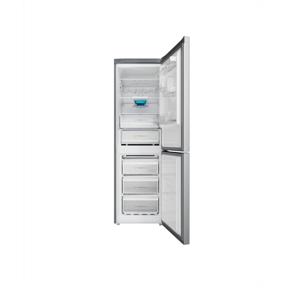 Indesit Koel-vriescombinatie Vrijstaand INFC8 TT33X Inox 2 deuren Frontal open