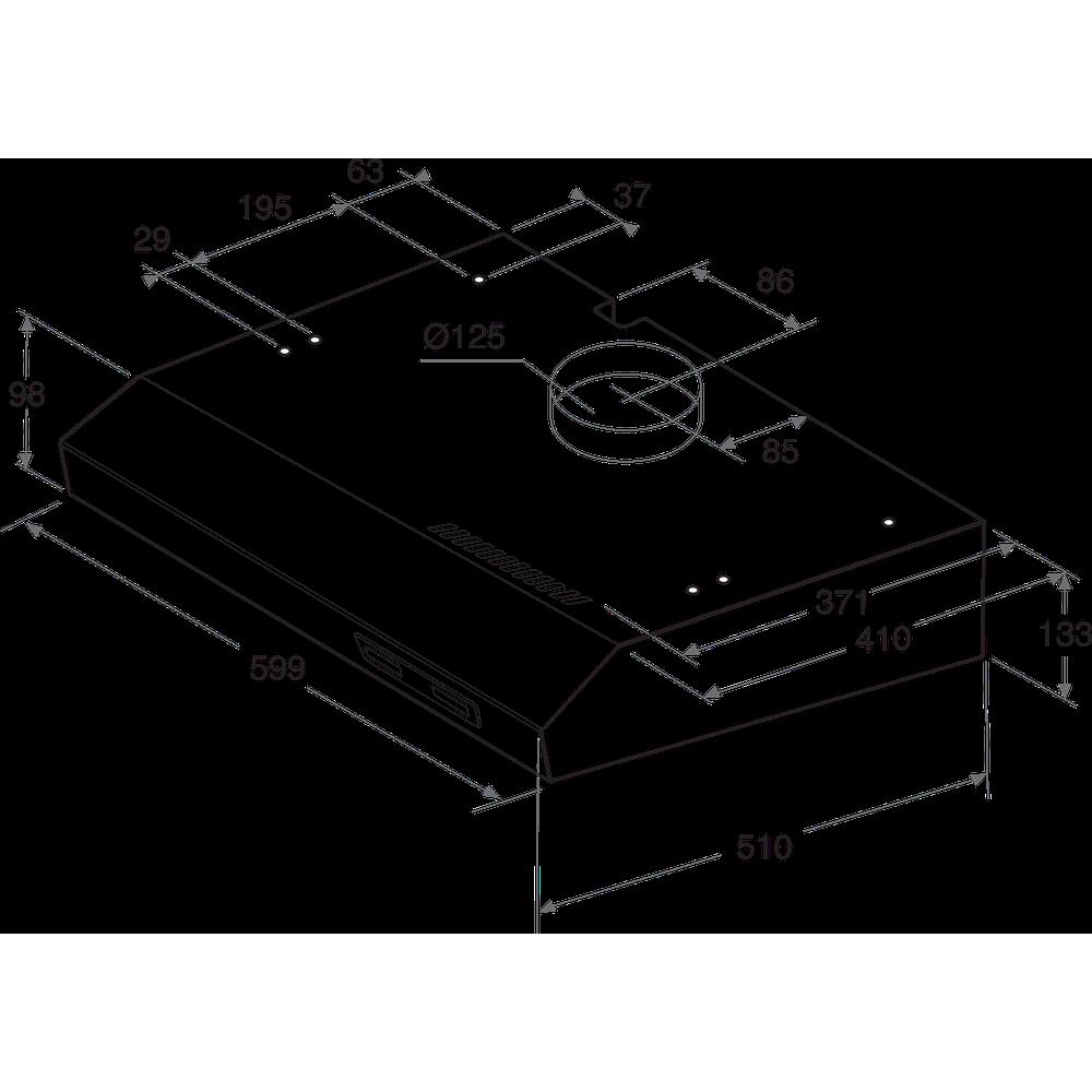 Indesit Afzuigkap Ingebouwd ISLK 66F LS W Wit Vrijstaand Mechanisch Technical drawing