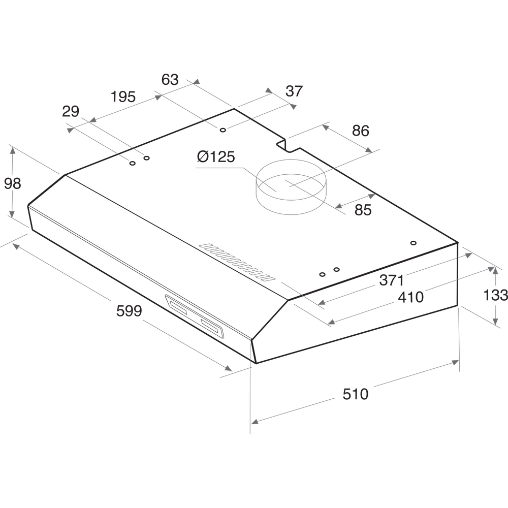 Indesit Dampkap Inbouw ISLK 66F LS W Wit Vrijstaand Mechanisch Technical drawing