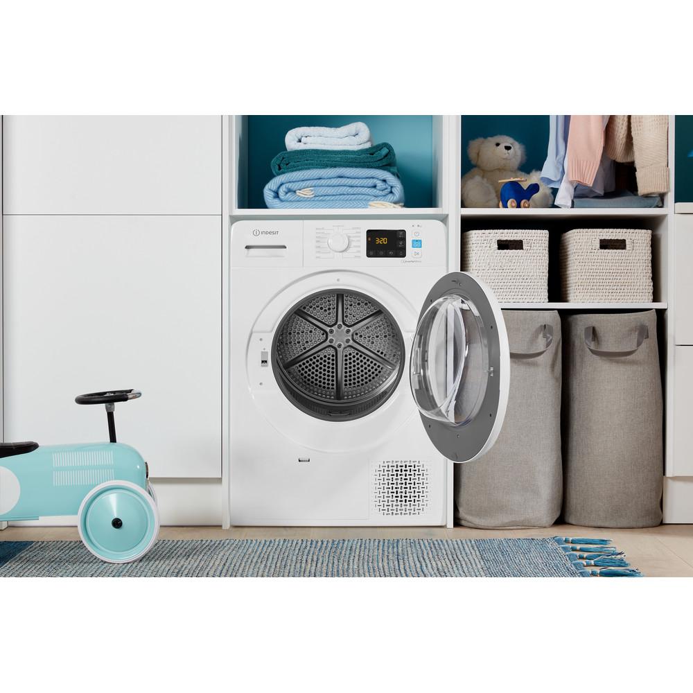 Indesit Dryer YT M11 82 X UK White Lifestyle frontal open