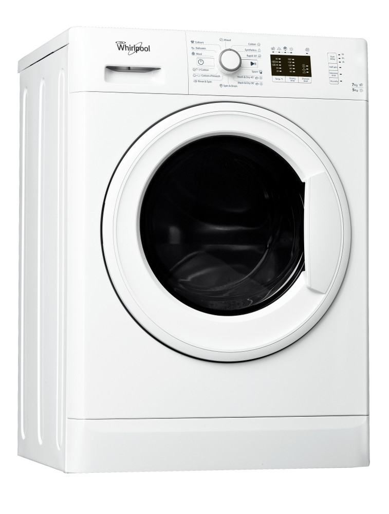 Whirlpool Washer dryer Free-standing WWDE 7512 White Front loader Perspective