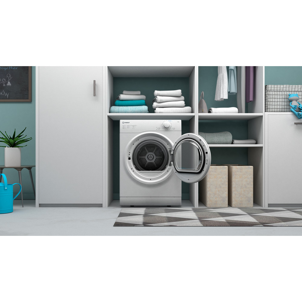 Indesit Droogautomaat I1 D81W EE Wit Lifestyle frontal open