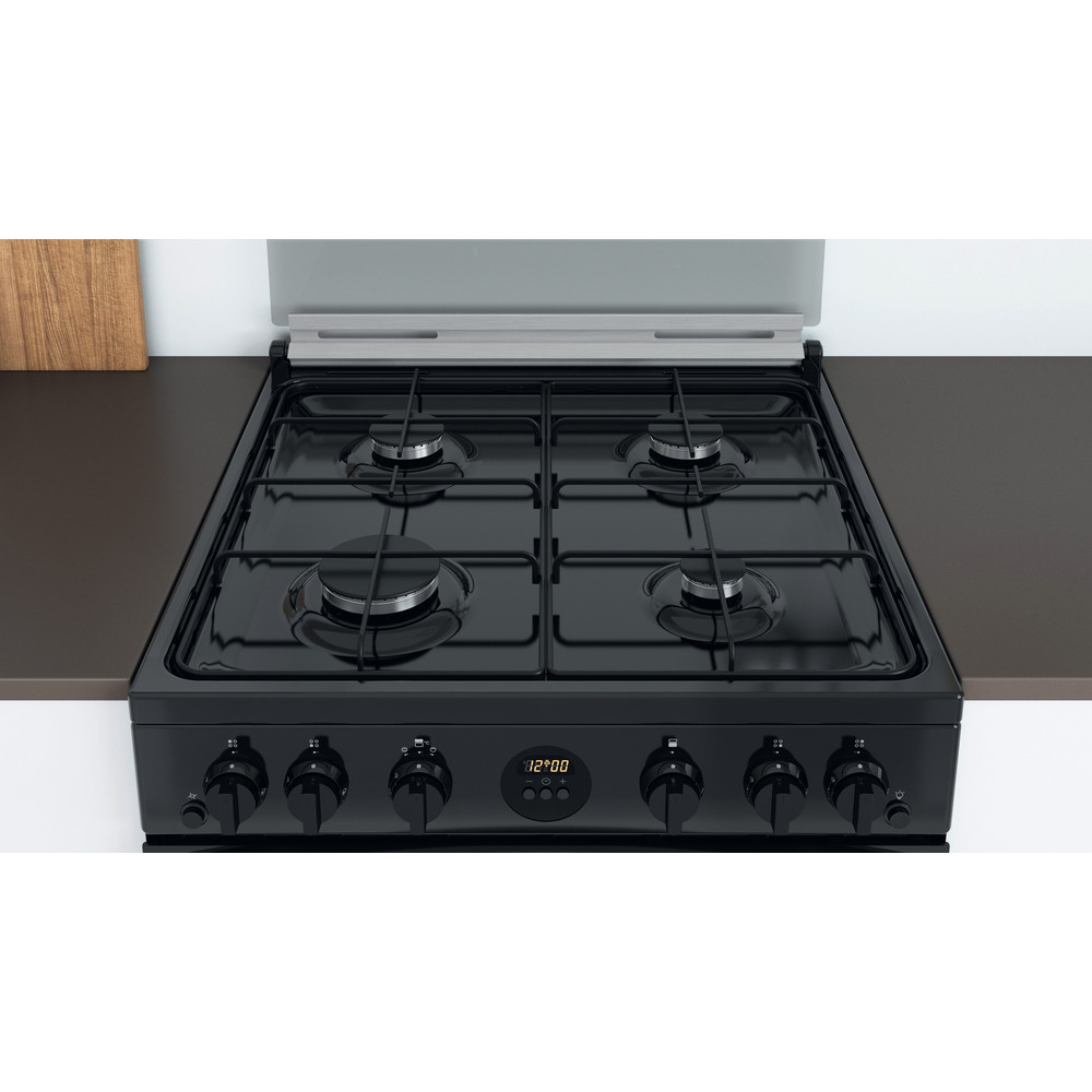 Indesit Double Cooker ID67G0MCB/UK Black A+ Lifestyle frontal top down