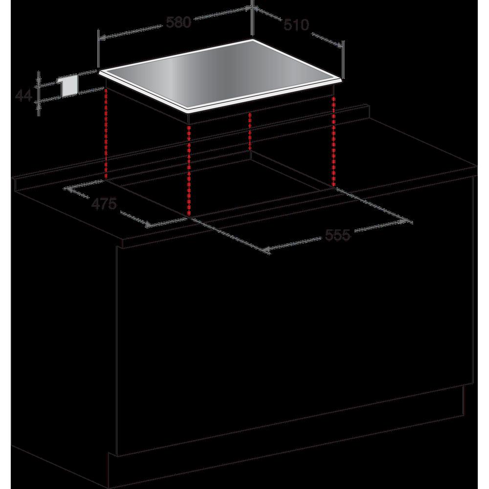 Indesit Encimera PR 642 /I (BK) Negro Gas Technical drawing