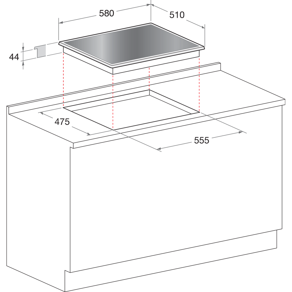 Indesit Table de cuisson PR 642 /I (BK) Noir GAS Technical drawing