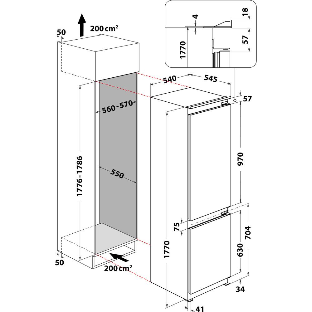 Indesit Combinazione Frigorifero/Congelatore Da incasso B 18 A1 D/I MC Acciaio 2 porte Technical drawing