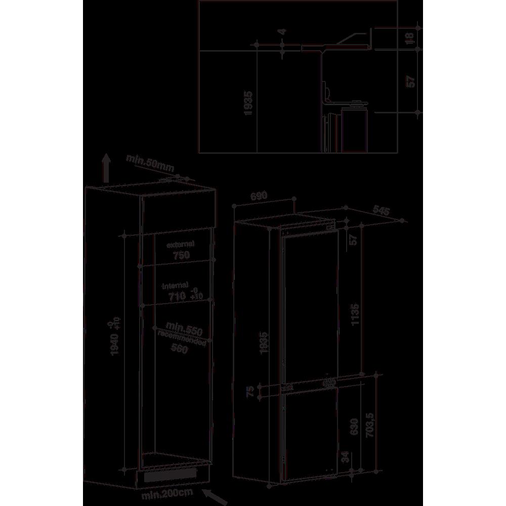 Indesit Combinazione Frigorifero/Congelatore Da incasso IND 400 Bianco 2 porte Technical drawing