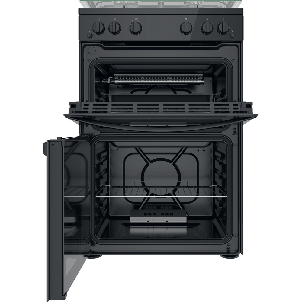 Indesit Double Cooker ID67G0MMB/UK Black A+ Frontal open