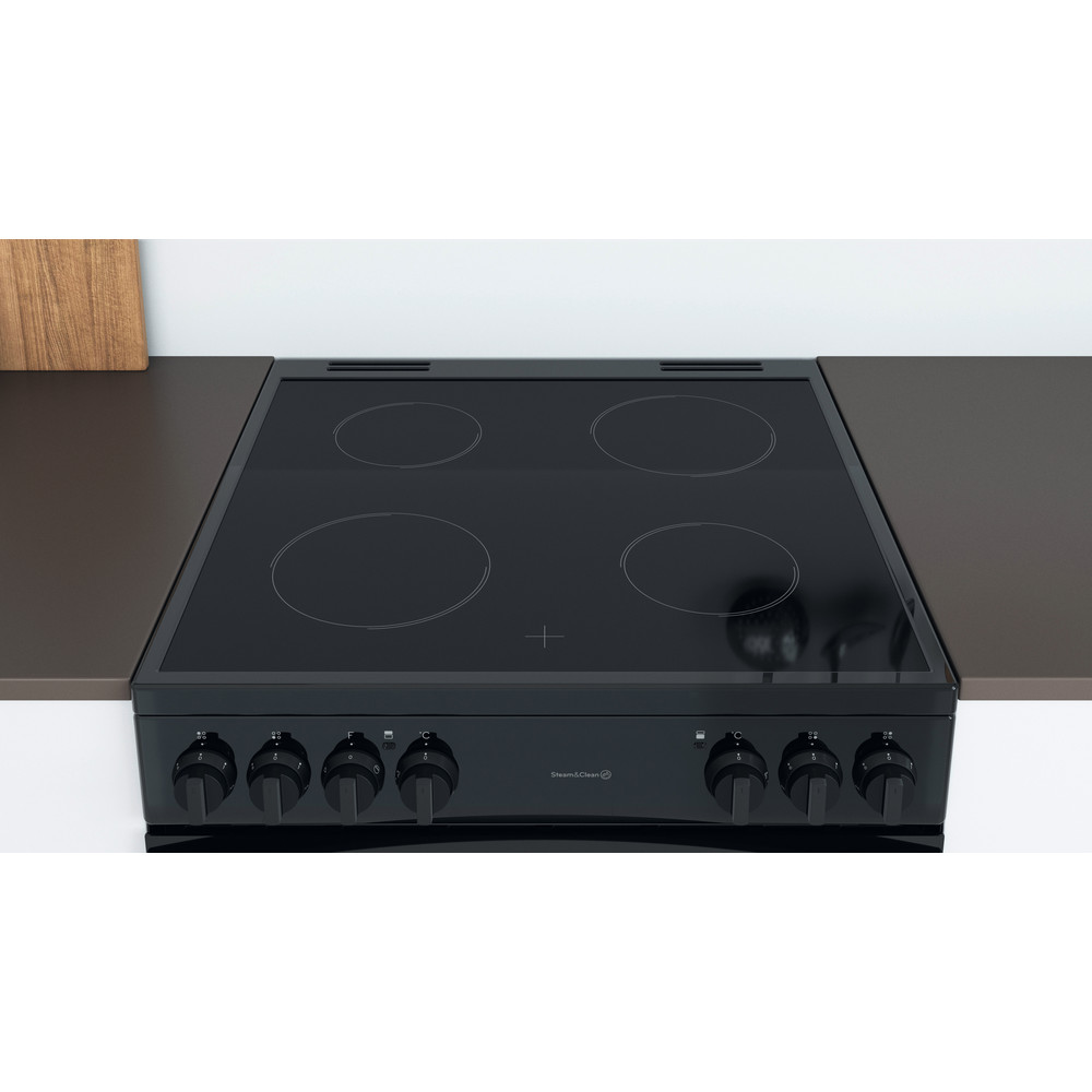 Indesit Double Cooker ID67V9KMB/UK Black A Lifestyle frontal top down