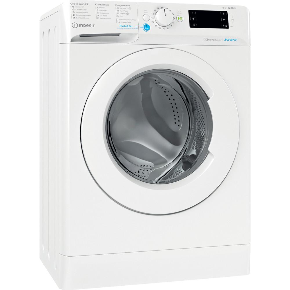 Indesit Стиральная машина Отдельностоящий BWSE 81282 L Белый Фронтальная загрузка A Perspective