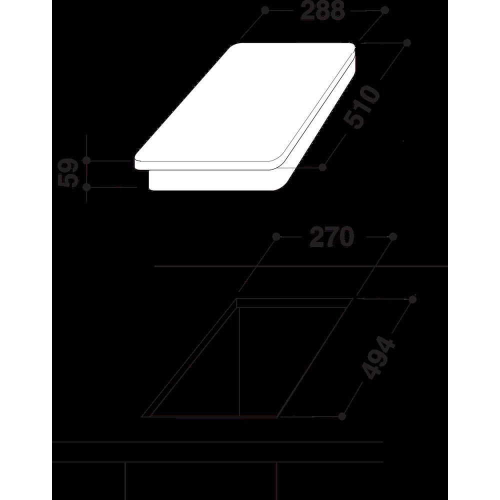Indesit HOB DP 2GS (IX) Inox GAS Technical drawing