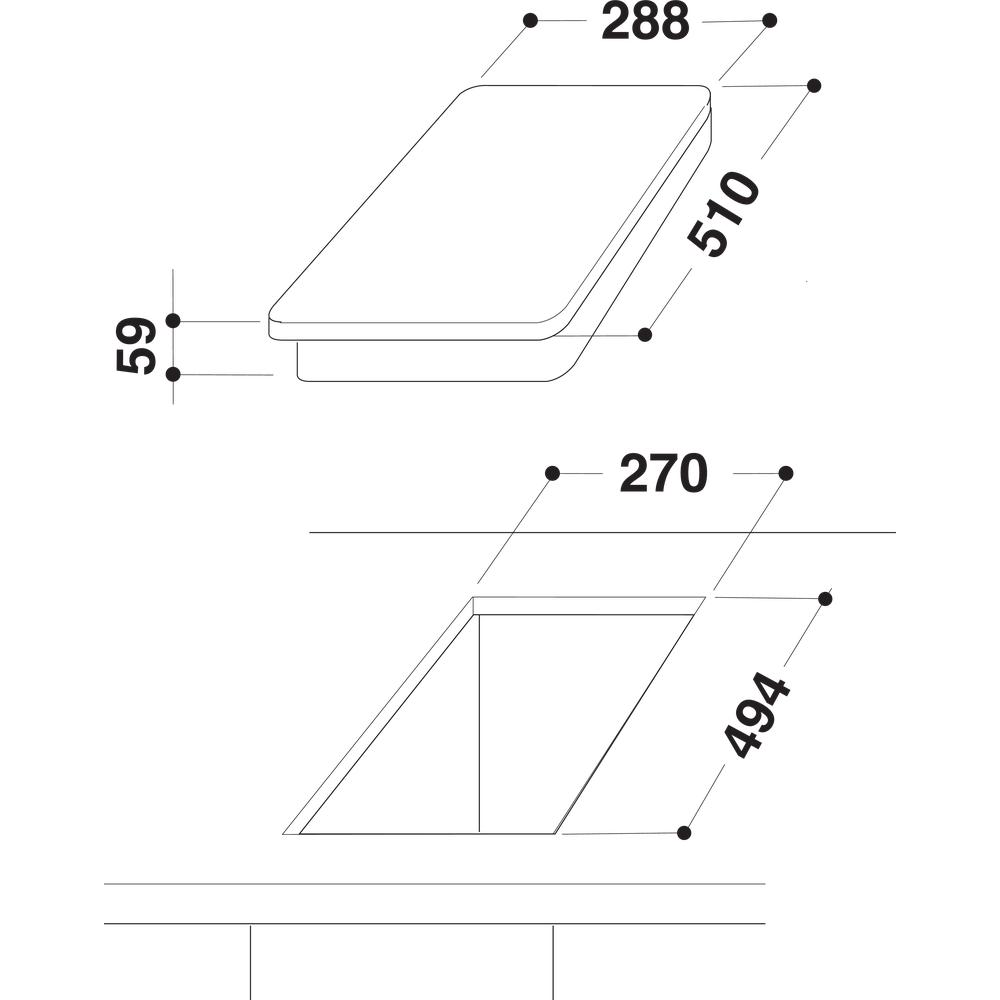 Indesit Piano cottura DP 2GS (IX) Inox GAS Technical drawing
