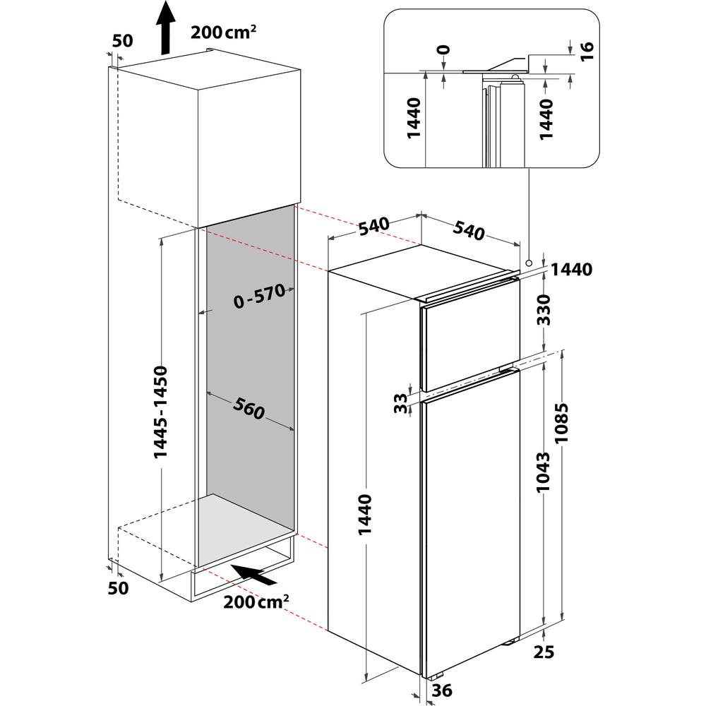 Indesit Combinazione Frigorifero/Congelatore Da incasso IN D 2040 AA/S Bianco 2 porte Technical drawing
