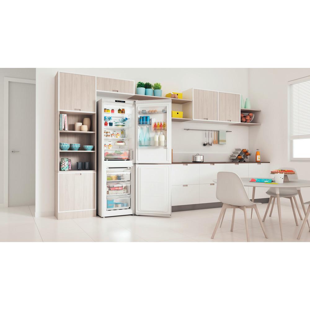 """Indesit"" Šaldytuvo / šaldiklio kombinacija Laisvai pastatoma INFC8 TI21W Balta 2 doors Lifestyle perspective open"