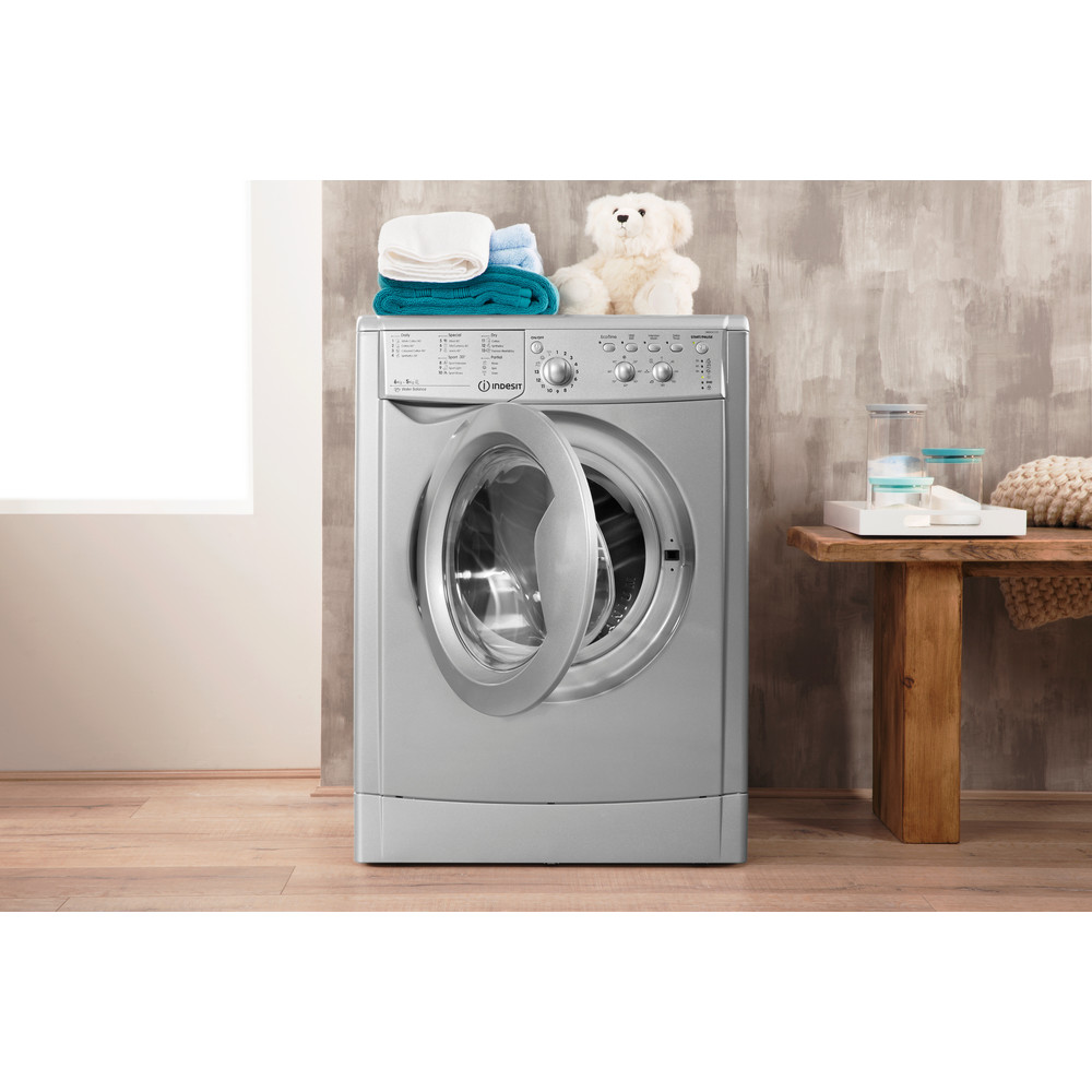 Indesit Washer dryer Free-standing IWDC 6125 S (UK) Silver Front loader Lifestyle_Frontal_Open